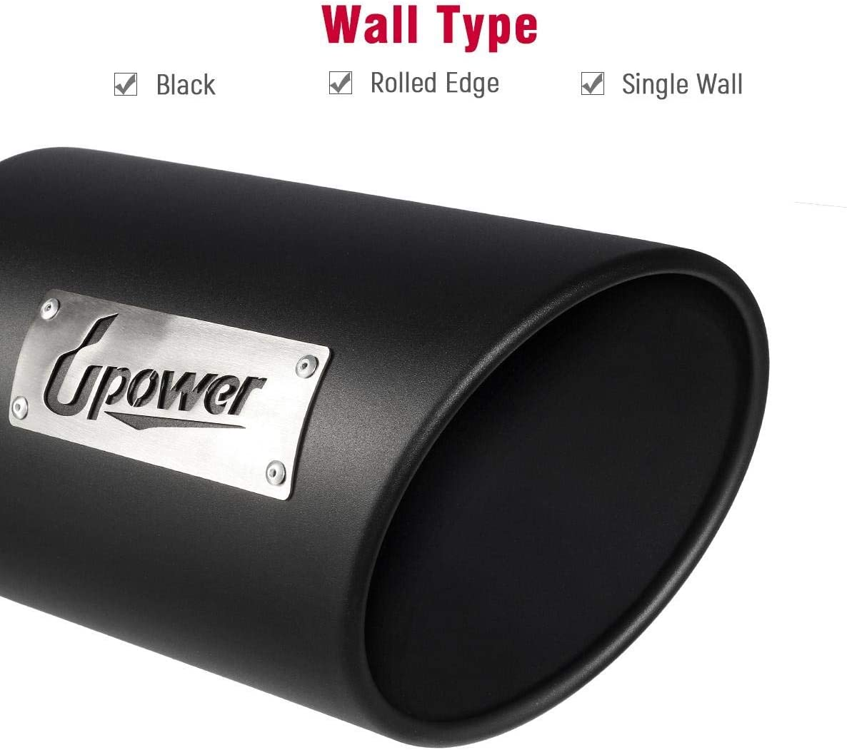 Upower Exhaust Tip 2.5 Inlet 4 Outlet 12 Long Stainless Steel Rolled Edge Weld On Universal Powder Coated Black Truck Tailpipe