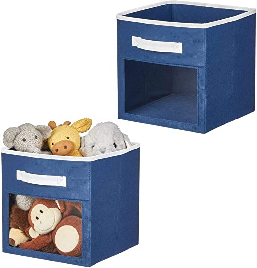 for Child//Kids Room Nursery mDesign Soft Fabric Closet Storage Organizer Cube Bin Box 6 Pack Furniture Units Clear Window and Handle Gray//White Shelf Playroom