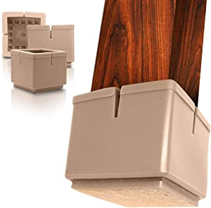 """MODRN KASSA 32 Pack Silicone Chair Leg Floor Protectors with Extra Furniture Pads, Brown Chair Leg Caps for Furniture Silicon Protection Cover 1 1/4 inches - 1 1/2 inches Wide (1.25"""" to 1.5"""", Brown)"""