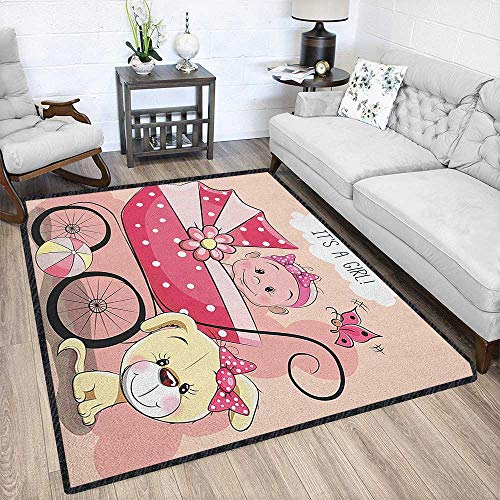 Gender Reveal Large Classical Carpet,Greeting for New Infant Puppy Dog and Baby Carriage Pastel Colors Textured Geometric Design Pale Yellow and Pink 79