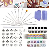 Nail Art Designs Set with 26 Stamping Plates, Boxes of 1500 Gemstones / Crystals / Gems Each, Stamper / Scraper, Dotters / Dotting Tools, Brushes and Rhinestones Decorations Picker Pencil