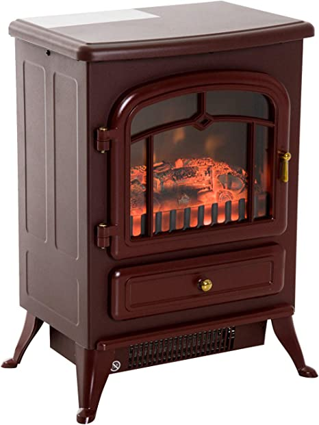 Homcom 16 Free Standing Electric Fireplace Portable Adjustable Stove With Heater Wood Burning Flame 750 1500w Red Brown Amazon Ca Home Kitchen