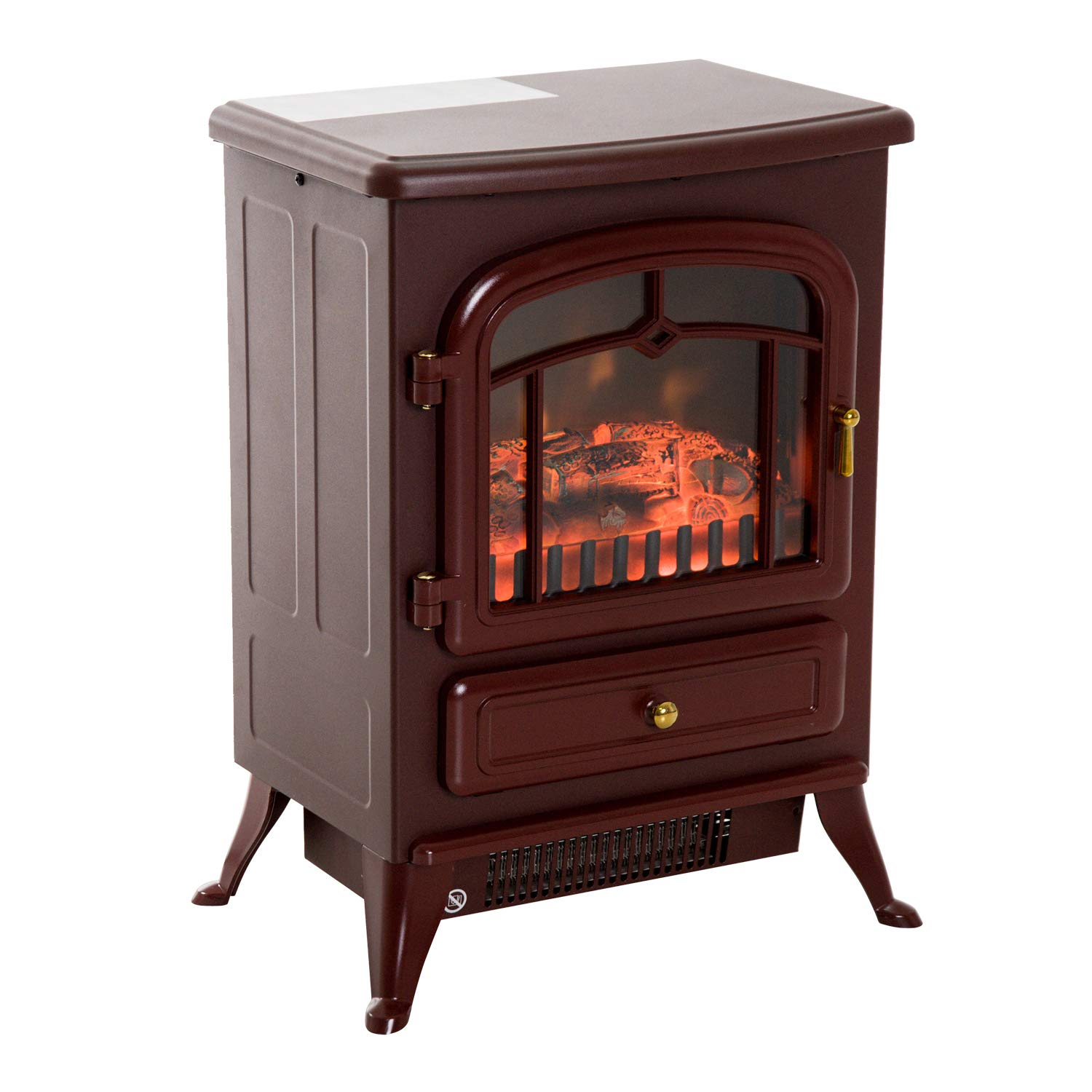HOMCOM 16 Free Standing Electric Fireplace Portable Adjustable Stove with Heater Wood Burning Flame 750/1500W Red Brown Aosom Canada