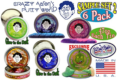 "Crazy Aaron's Thinking Putty Mini Tin Gift Set Bundle (Sample Set 2) with Krypton, Twilight, Amethyst Blush, Super Lava, Aura & Exclusive ""Lizard Lips"" Hypercolor - 6 Pack"