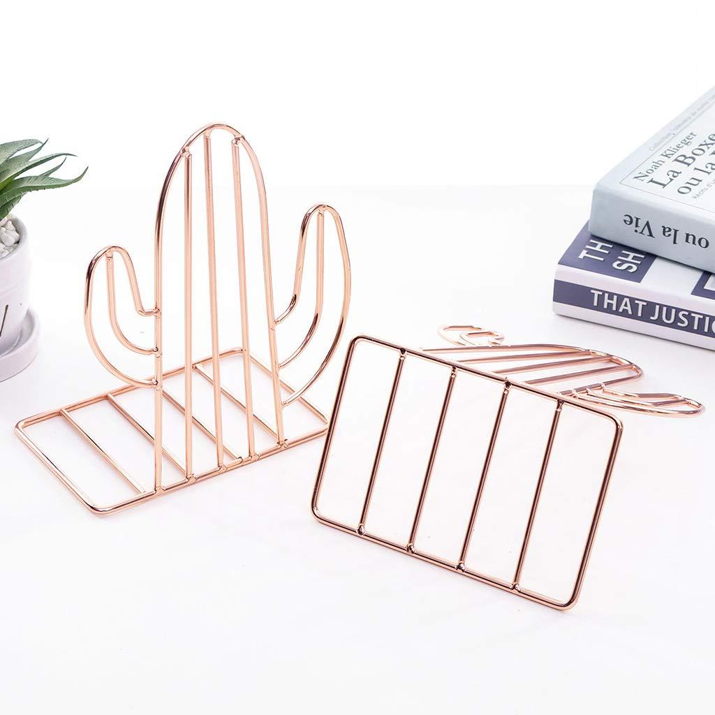 Or Guoyy Support de Livre Serre-Livres en m/étal en Forme de 2pcs Cactus