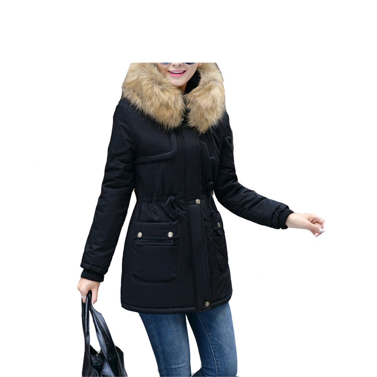 Amazon.com: LR New New Women Winter Coat Wadded Jacket Medium-Long Plus Size 4XL Parka Fur Collar Thickening Hood Abrigos Female Snow Wear Black 4XL: ...