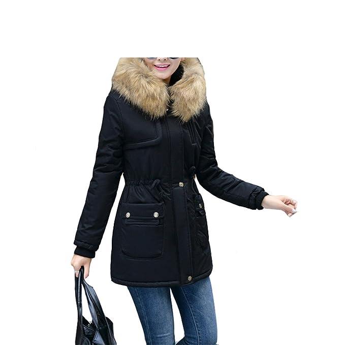 Amazon.com: LR New New Women Winter Coat Wadded Jacket Medium-Long Plus Size 4XL Parka Fur Collar Thickening Hood Abrigos Female Snow wear Army Green XXL: ...