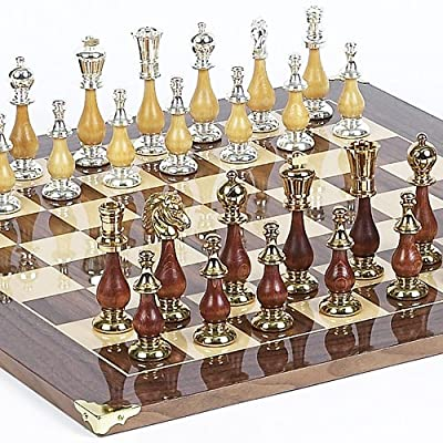Francesca Luxury 24K Gold/Silver Plated Chessmen from Italy & Columbus Ave. Board from Spain