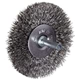 "Weiler Vortec Pro Wire Wheel Brush, Round Shank, Carbon Steel, Crimped Wire, 3"" Diameter, 0.014"" Wire Diameter, 1/4"" Shank, 13/16"" Bristle Length, 20000 RPM"