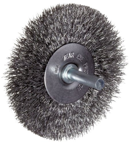 Carbon Steel Round Wire - Weiler Vortec Pro Wire Wheel Brush, Round Shank, Carbon Steel, Crimped Wire, 3