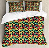 Poker King Size Duvet Cover Set by Lunarable, Colorful Casino Chips with Dollar Signs Placed over an Abstract Slate Blue Background, Decorative 3 Piece Bedding Set with 2 Pillow Shams, Multicolor