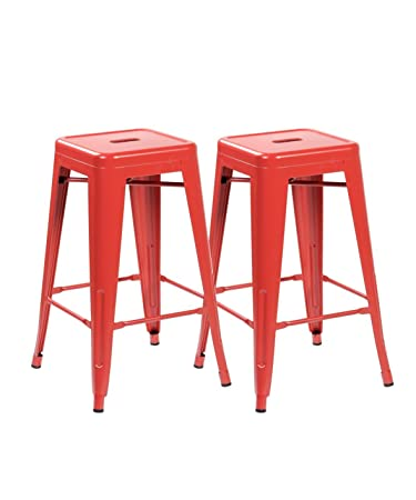 amazon com 26 inch backless tolix style metal bar stools set of 2