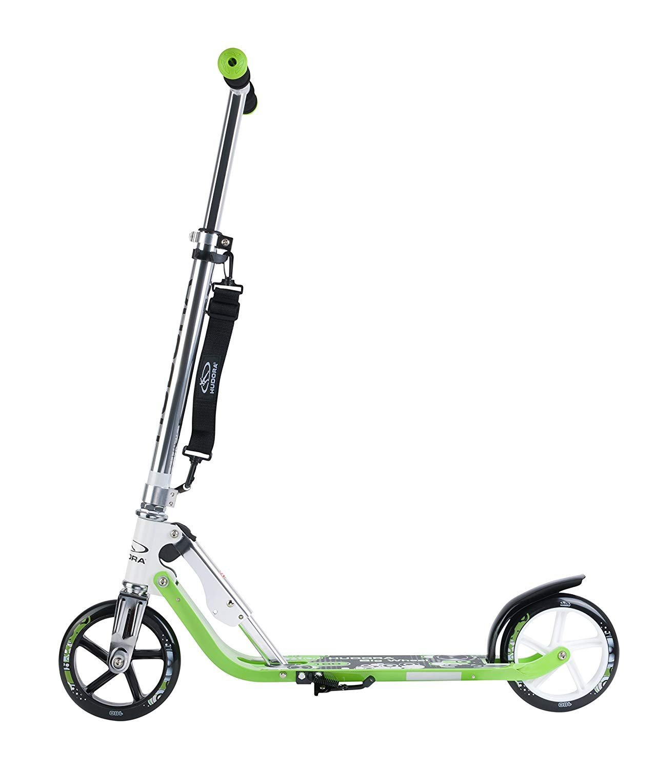 HUDORA Kick Scooter Adult Teen Kid For 8-15 Years Old With 180MM Big Wheels, Adjustable Height, Easy Folding Big Wheels Scooter-Green