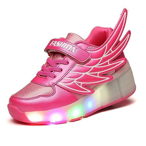 superior quality fbd9c d7ddd Fuiigo Wings LED Light Up Heelys wheel Roller Skate Shoes for Boys Girls  School Sneakers  Amazon.ca  Shoes   Handbags