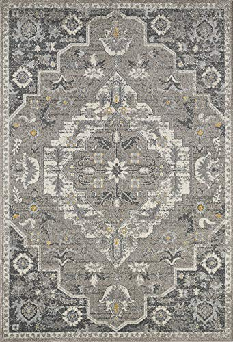 Abani Rugs Large Light Dark Grey Motif Vintage Medallion Area Rug Traditional Style Accent, Catalina Collection Turkish Made Superior Comfort Construction Stain Shed Resistant, 4 x 6 feet