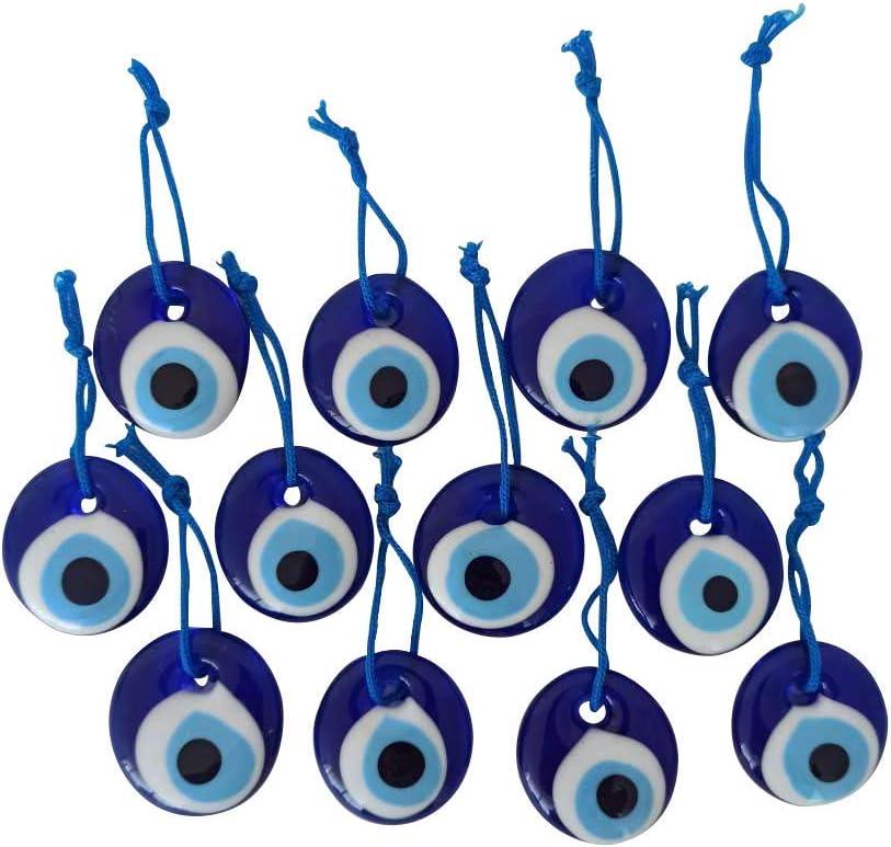 "Erbulus Turkish Glass Blue Evil Eye Beads - 12pcs 1.38"" (3.5cm) Bulk Pack - Evil Eye Protection Charm - Turkish Nazar Boncuk Talisman - Home Decor Amulet - Wedding Favor in a Box"