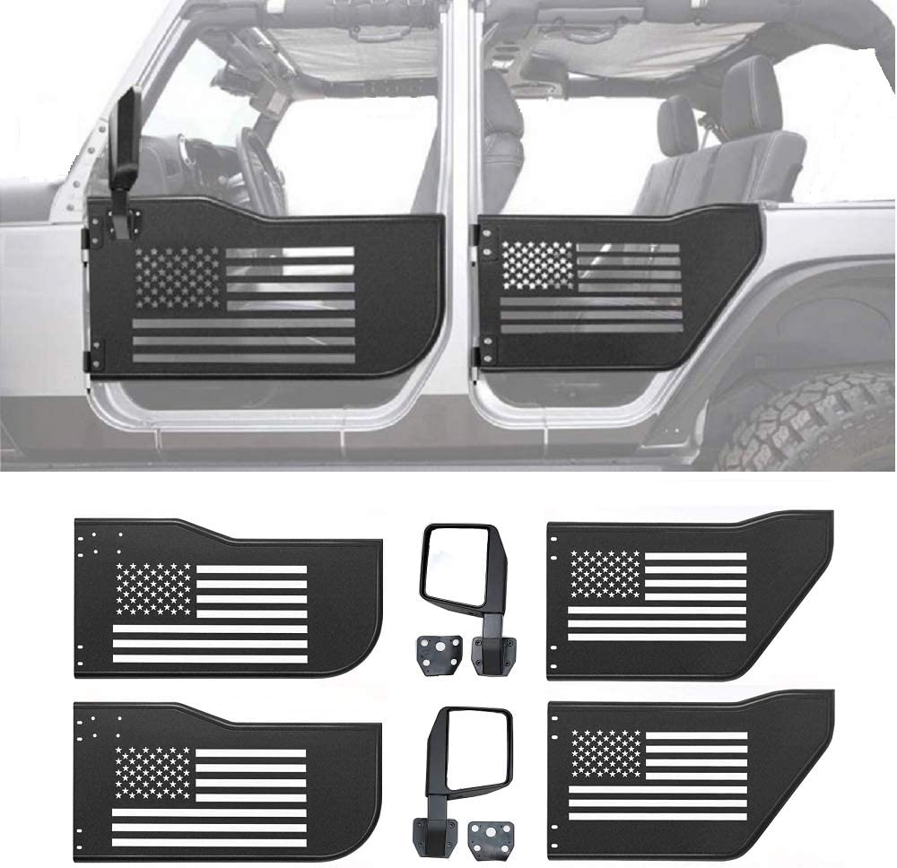 Stainless Steel, 4 doors Z8LED Steel Tubular Door with USA Flag Logo with Rear view Mirror Fits for 2007-2017 Jeep Wrangler JK Unlimited 4-Door