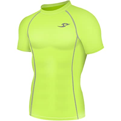 New 130 Neon Green Skin Tights Compression Base Layer Short Sleeve Mens Top