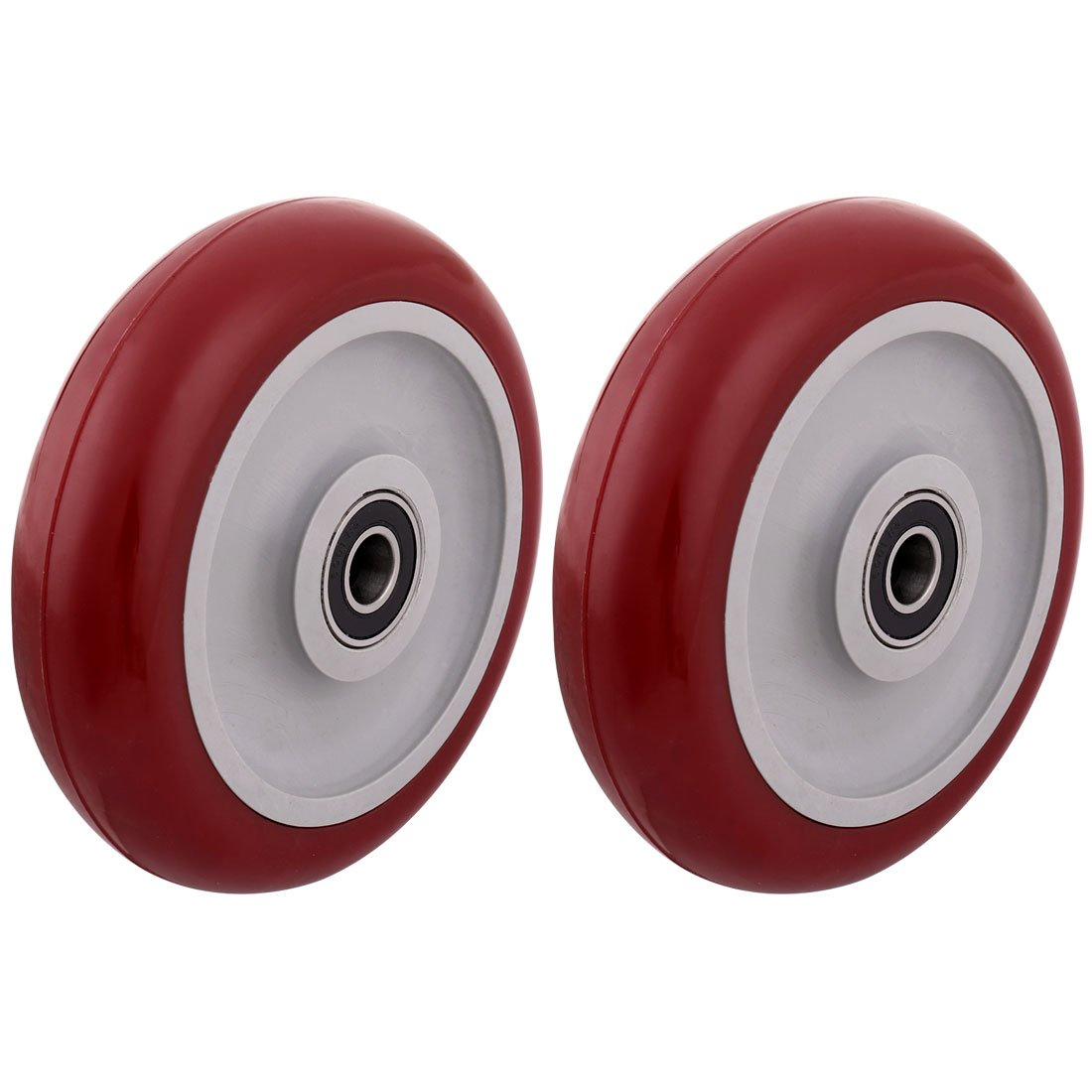 uxcell 5'' Polyurethane on Hard plastic Wheel with Bearing, Shim, and Bushing, Replacement Part For Carts, Furniture, Dolly, Workbench, Trolley, Wheel Only, Red Set of 2