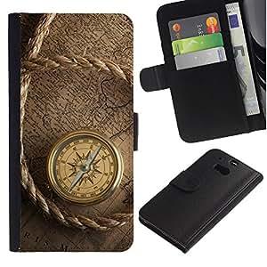 """HTC One M8 , la tarjeta de Crédito Slots PU Funda de cuero Monedero caso cubierta de piel ("""" Captain Ship Navigation Compass Vintage"""")"""