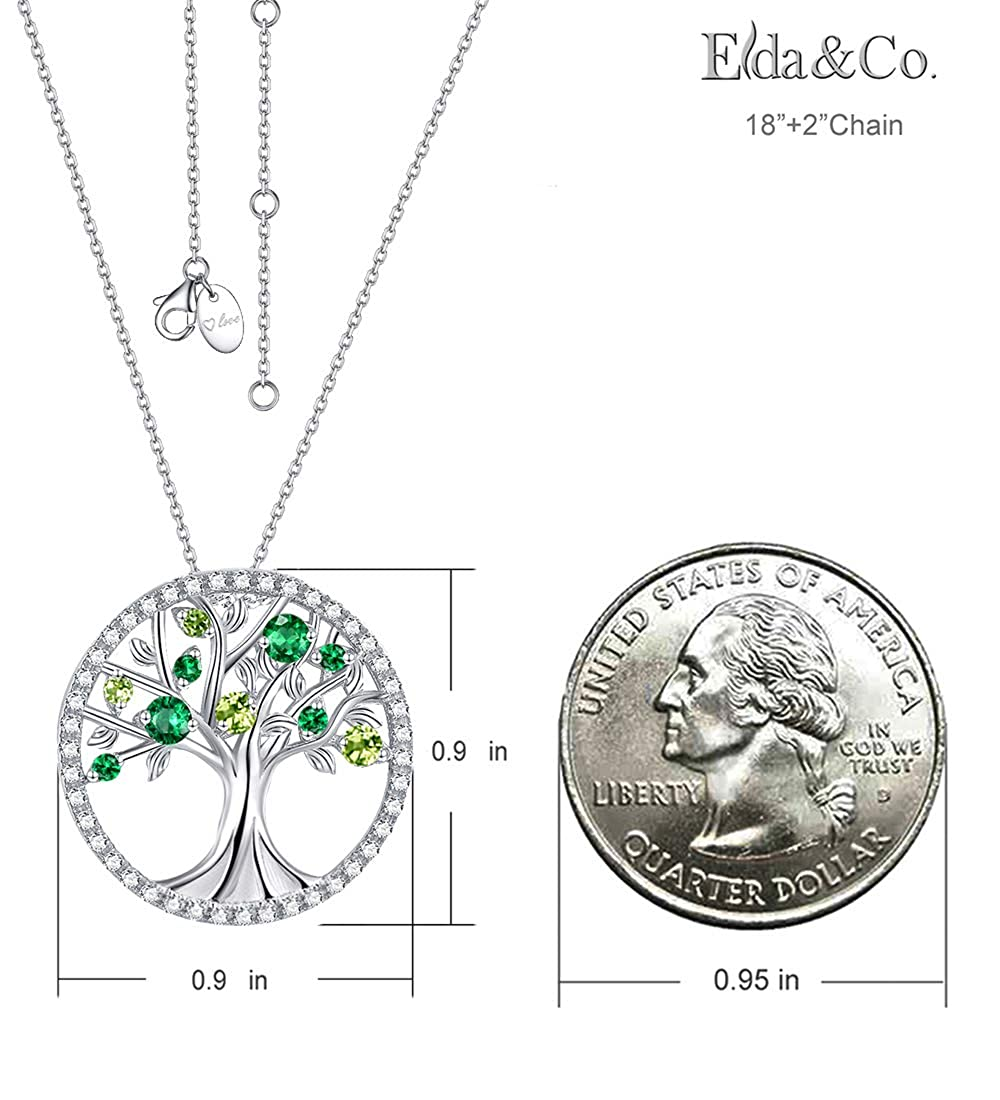 August Birthstone LC Green Peridot Necklace for Women Teen Girls Birthday Gifts Green Emerald Sterling Silver Tree of Life Pendant Necklace Anniversary Gifts Love Family