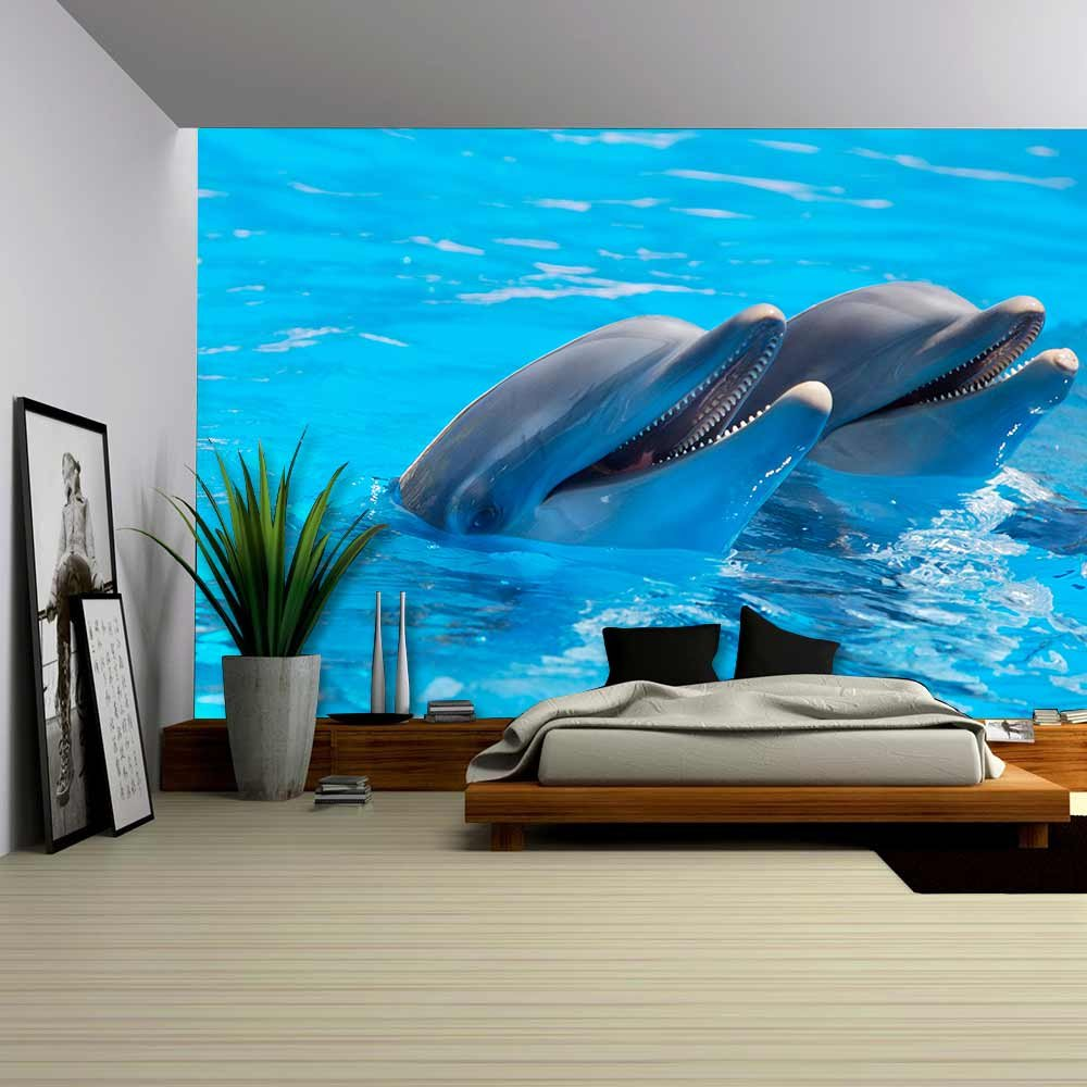 wall26 com art prints framed art canvas prints greeting wall26 happy dolphins in the blue water of the swimming pool removable wall mural self adhesive large wallpaper 100x144 inches