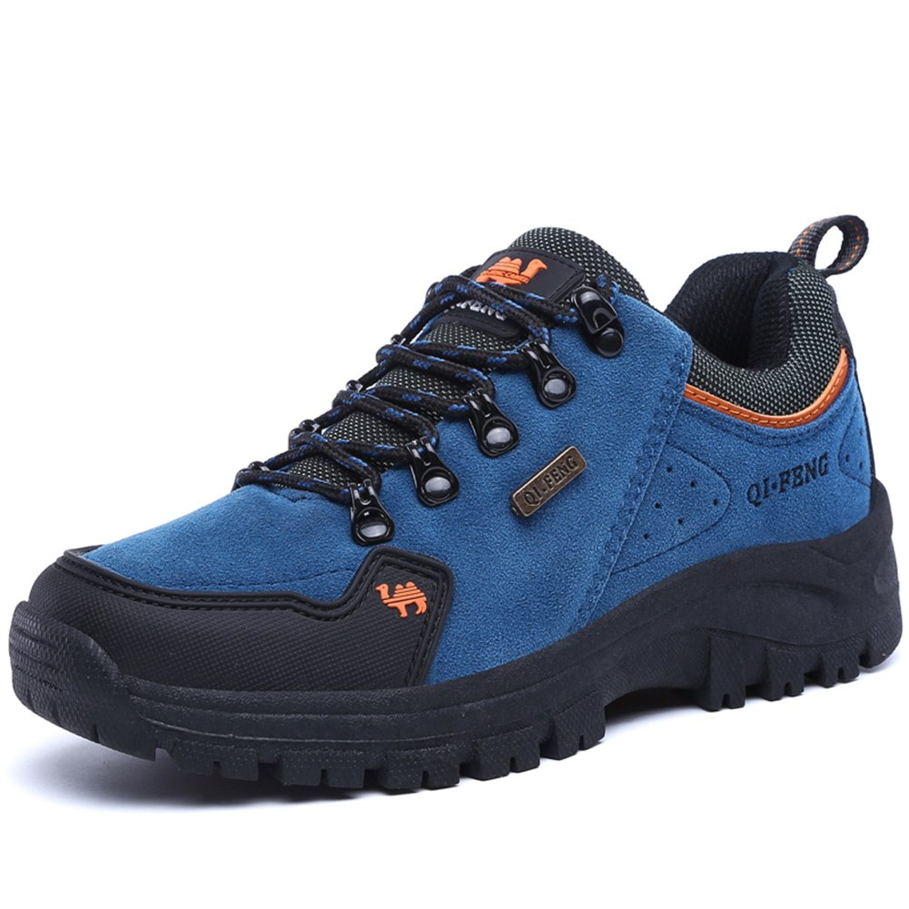 ZHJLUT Unisex Couple Men's Women's Outdoor Sports Casual Suede Leather Lace-up Shoe Hiking Shoes Backpacking Boot Blue Label Size 44-Women US10.5-Men US9