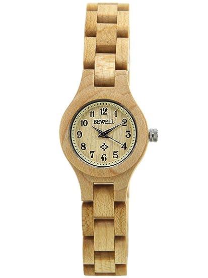 Alienwork Reloj Mujer Relojes Madera Amarillo Analógicos Cuarzo Impermeable Madera Natural