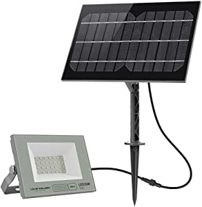 Solar Flood Light Outdoor,IP67 Waterproof/4000K/2400 Lumens Spotlight 6 Hours Charging Time 36 Hours Working Time for Patio Porch Path Yard Garden Garage Driveway Pathway