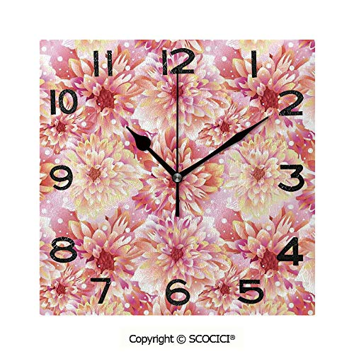 SCOCICI 8 Inch Square Face Silent Wall Clock Double Bloom with Overlap Axis and Twist Bluntly Circle Pompons Unique Contemporary Home and Office Decor