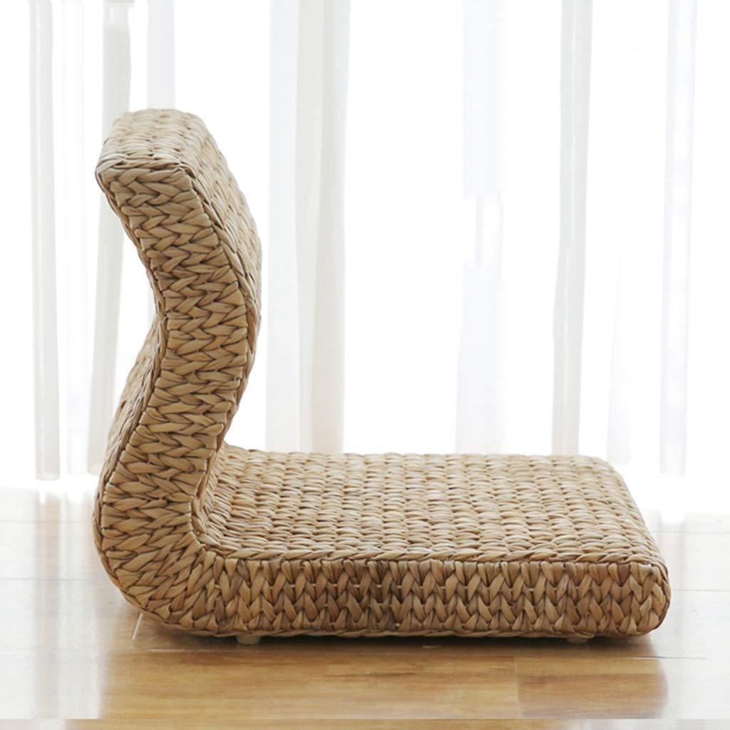 RXY-Wicker chair Handmade L Shape Hand-Woven Rattan Cushion Balcony Living Room Bedroom Floor Backrest (Size : 36x50x38cm)