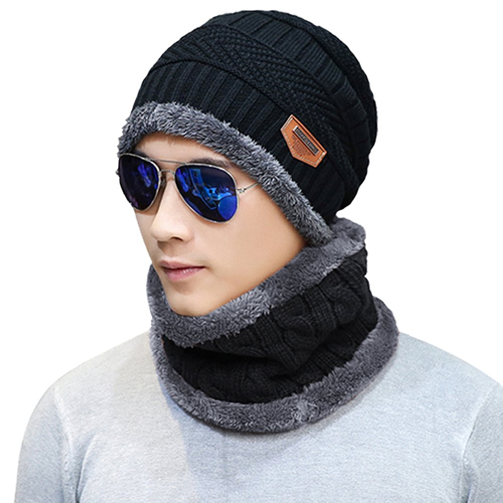 f29cc0ff374 Amazon.com  Naisidier Men s Winter Beanie Hat Scarf Set Warm Knitted Skull  Cap with Neck Cover for Men and Women