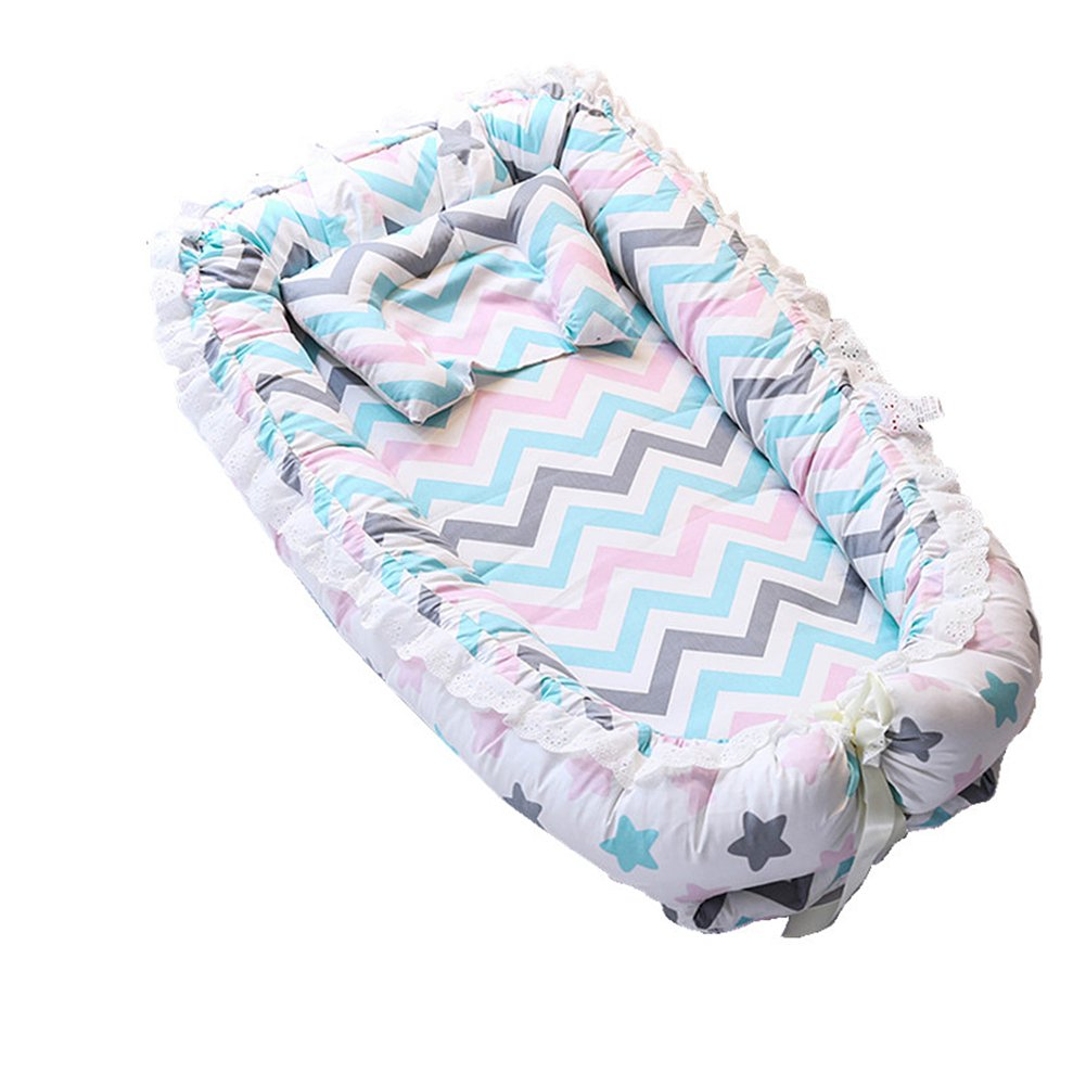 Ukeler Baby Bassinet for Bed - Colorful Stripes Printed Baby Lounger -100% Cotton Portable Crib for Bedroom/Travel - Breathable & Hypoallergenic Co-Sleeping Pink Baby Bed for Boys/Girls