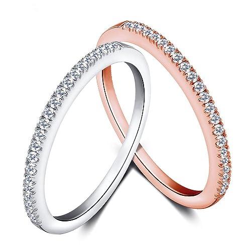 Mujeres Boda Compromiso Anillos Plata de Ley 925 Cz Diamantes Marcas Solitarias Princesa Corte Promesa Aniversario