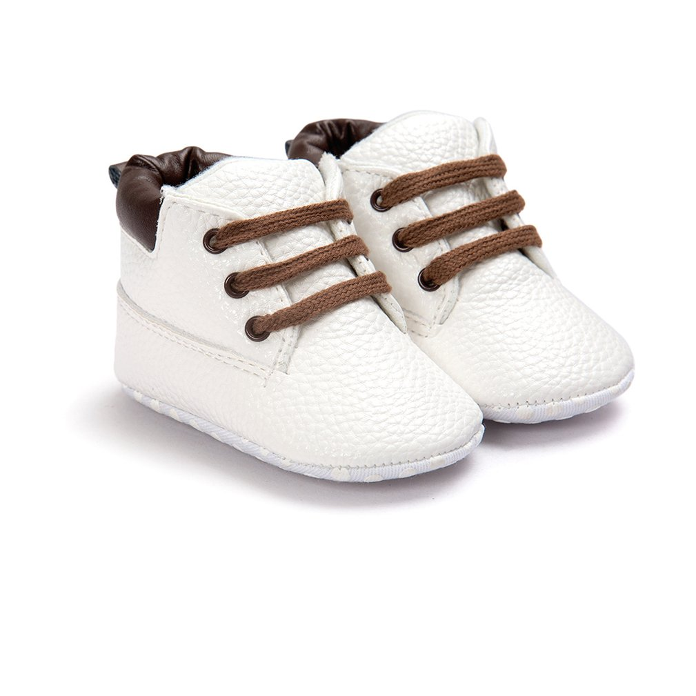 CoKate Baby Boy Girl Leather Sneakers First Walkers Anti-Slip Soft Shoes Infant Boots Black