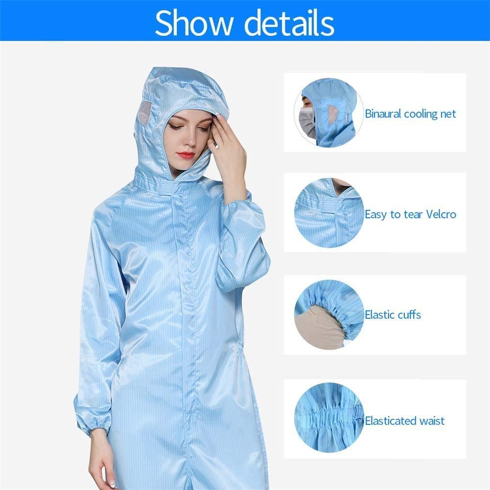 Protective Coveralls with Hood Reusable Washable Protective Coveralls Jumpsuit for Women Men Dust-Proof Anti Blue White Pink Optional
