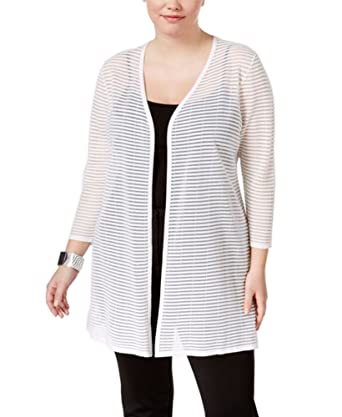 c99352022638b Alfani Plus Size Sheer-Stripe Duster Cardigan in Bright White at ...
