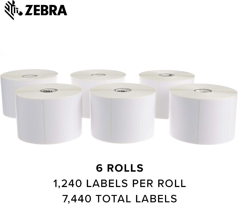 "Zebra 10010029 3/""x2/"" Direct Thermal Paper Label Z-Perform 2000D 1240//Roll 6Rolls"