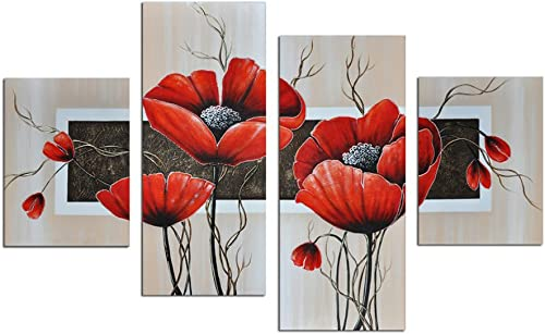 Noah Art-Modern Paintings of Flowers, Red Flowers Pictures 100 Hand Painted with Acrylic Abstract Flower Painting on Canvas, 4 Piece Framed Floral Wall Art for Living Room Bedroom Wall Decor