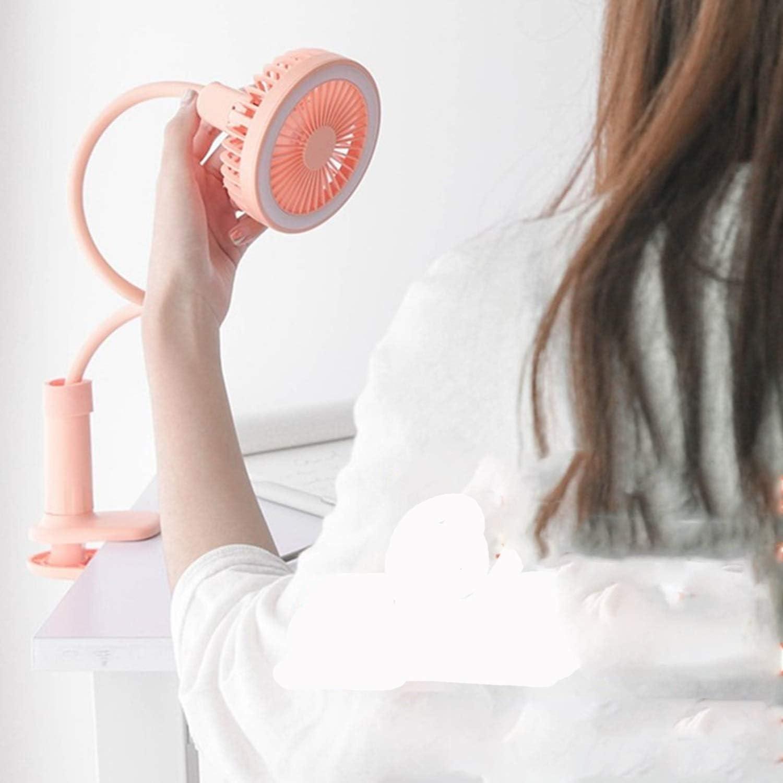Color : Pink HAIMEI-WU Miniskirt Clip Fan USB Rechargeable Baby Stroller Fan Adjustable Hose Multifunction Led Makeup Fill Wanton Mini Electric Fan