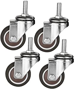4 x Rubber casters, Thread Stem M10, 2In50mm, Heavy Duty 150kg, Carbon Steel Bracket Swivel Universal Silent Wheels, with Brake for Furniture Hospital Office Chair Scaffolding Crib