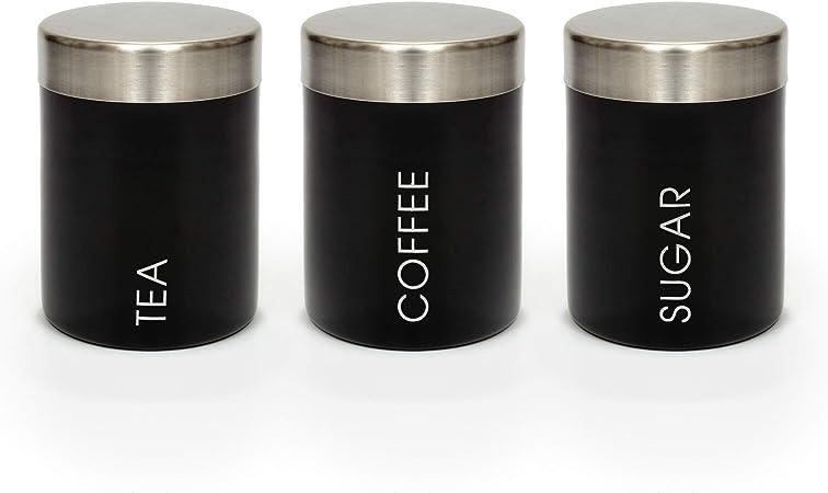 Nero Zucchero Zucchero e caff/è Biscotti o Pane caff/è EHC Barattolo smaltato Nero per t/è Biscotti Set di 3 t/è