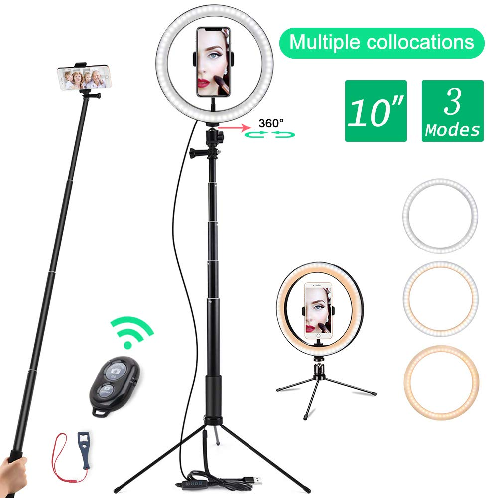 10'' LED Ring Light with Tripod Stand Selfie Stick & Cell Phone Holder Ring lamp for Live Stream YouTube Video Makeup Vlog Photography Compatible with iPhone Android by itkidboy