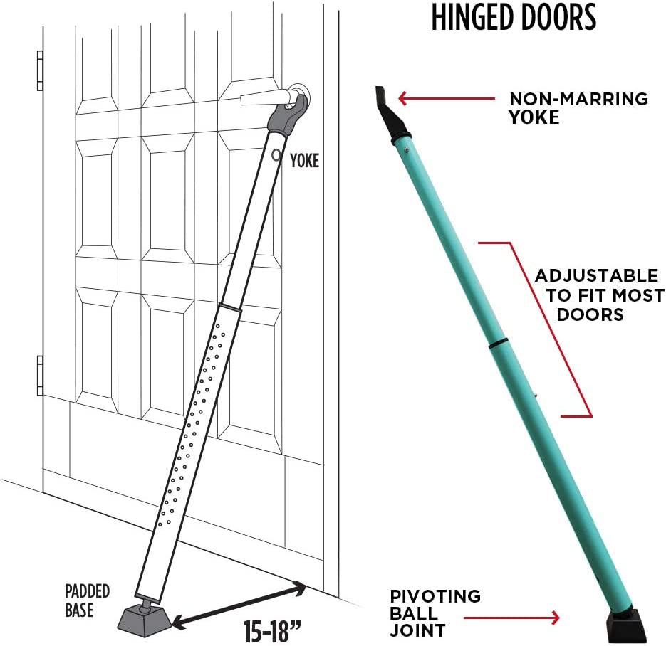 Guard Dog Security Door Jammer 2-in-1 Adjustable Door Knob Jammer /& Sliding Patio Door Security Bar 40 Different adjustments 1, Teal