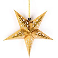3D Hollow Star Pentagram Paper Lantern Lampshade Ceiling Hanging Decorations for Christmas Party - 30Cm Gold