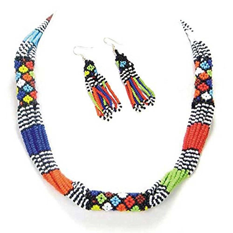 La vivia MULTICOLOR ROPE NECKLACE EARRINGS AFRICAN MASAI BEADWORK BEADED JEWELRY S31/5