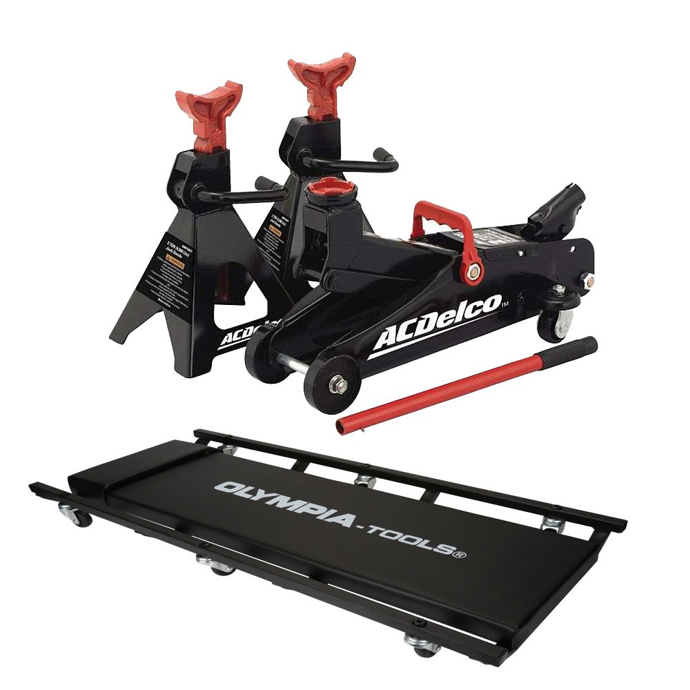 2-Ton Floor Jack With Jack Stands and Mechanic Creeper