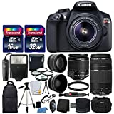 Canon EOS Rebel T6 Digital SLR Camera + Canon 18-55mm EF-S IS II Lens & EF 75-300mm III Lens + Wide Angle & 2x Lens + Macro Filter Kit + 48GB Card + Gadget Bag + Quality Tripod + Remote + Slave Flash