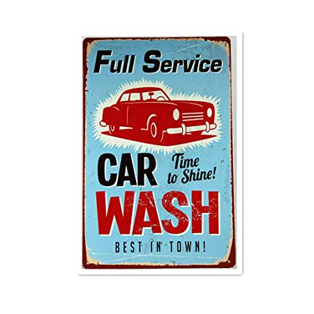 Full Service Car Wash Póster De Pared Metal Retro Placa ...