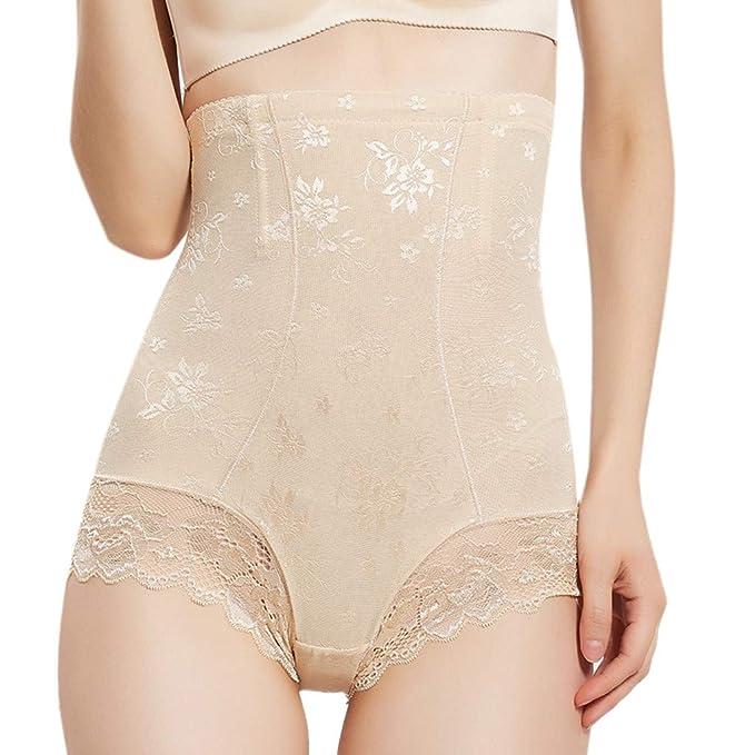 55fc9f2c6e Women High Waist Shapewear Ladies Tummy Control Body Slimming Panties Sexy Lace  Underwear at Amazon Women s Clothing store